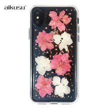 aikusu Factory price clear floral Real Dry Flower phone case for iphone 7