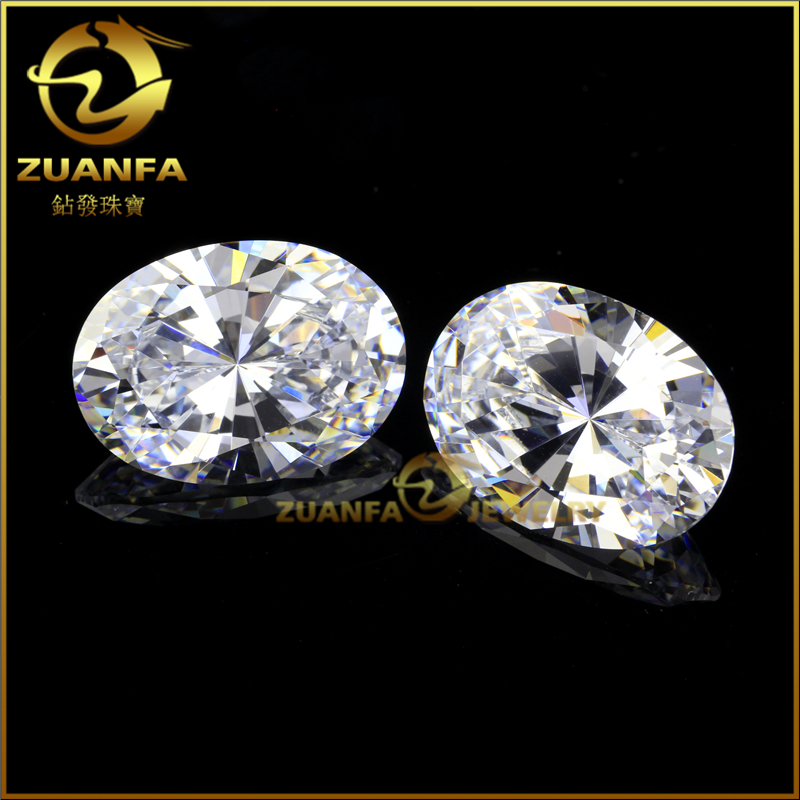 gold jewelry making top quality 5A diamond cut cubic zirconia oval white