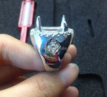 High polished Indonesia titanium fashion oval gemstone ring man /ring setting removeable stone