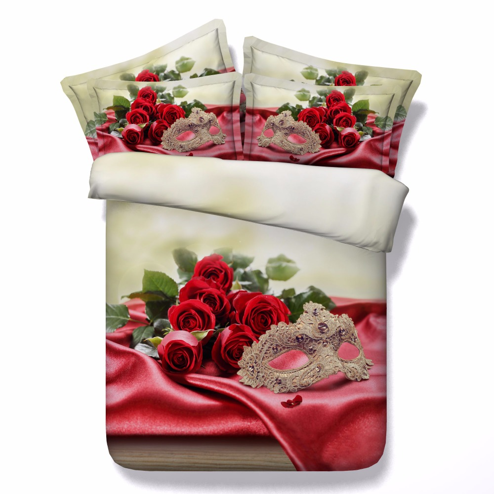 Sexy Masquerade Mask and Red Roses stunning 3d bedlinen set