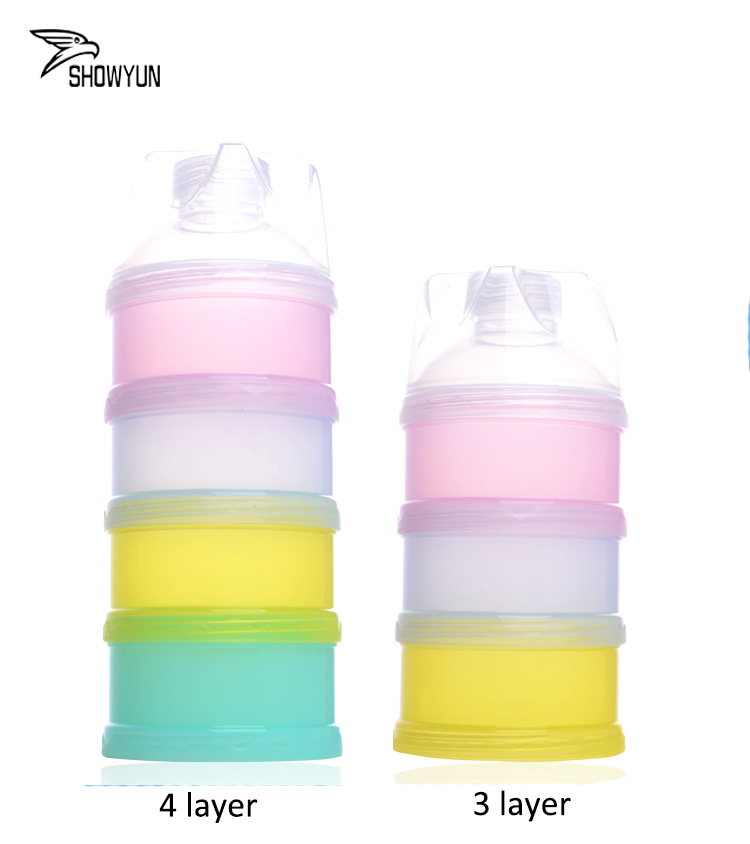 New Design 4 Colors PP Non Toxic Multifuction Plastic Baby Milk Powder Container Portable Powder Box