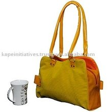 The Flashy Corduroy Dual Colored Hand Bag With Artificial Leather Handles and Accessories By Kope Initiatives.