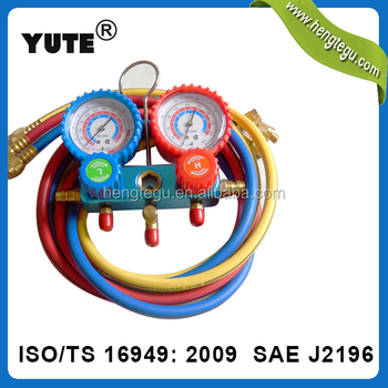 SAE J2196 YUTE 1/4 inch R134a refrigerant charging hose with gauge