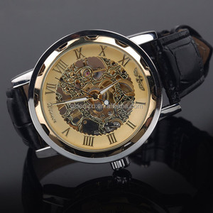 China Supplier New Mens Luxury Gold Dial Men's Hand Wind Up Skeleton Mechanical Watch