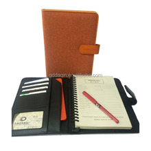 2018 new style fancy PU leather organizer notebook best A5 leather plastic binder diary notebook organizer, a5 customized size