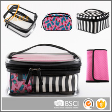Wholesale women waterproof makeup cases PVC cosmetic bag 4 pcs set