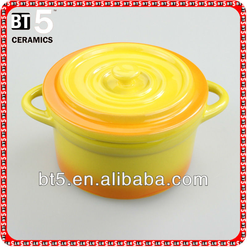 Ceramic yellow set of 4pcs mini cocottes
