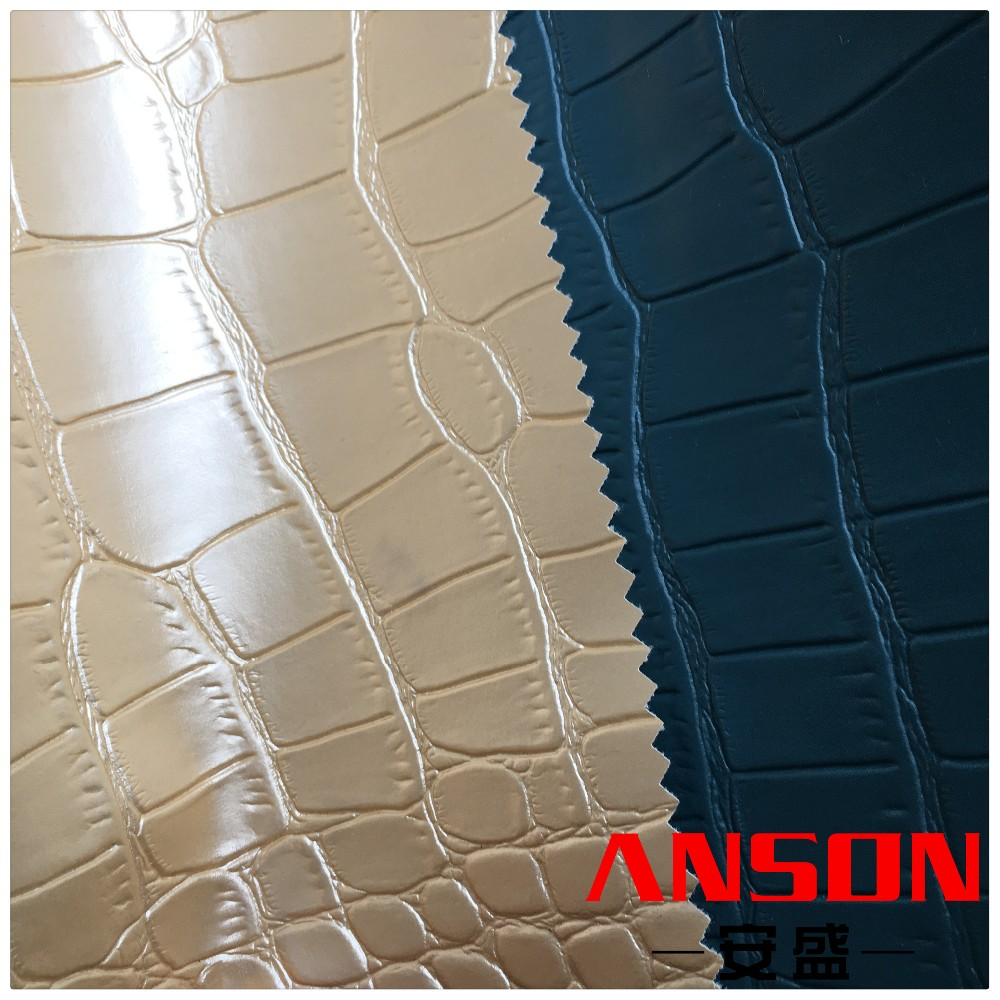 High-grade pearl crocodile grain PU leather fabric for fashion bags