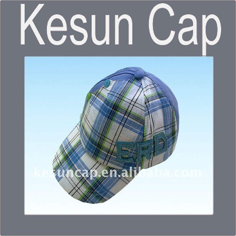 2011 Tartan check 100% cotton applique promotional hat