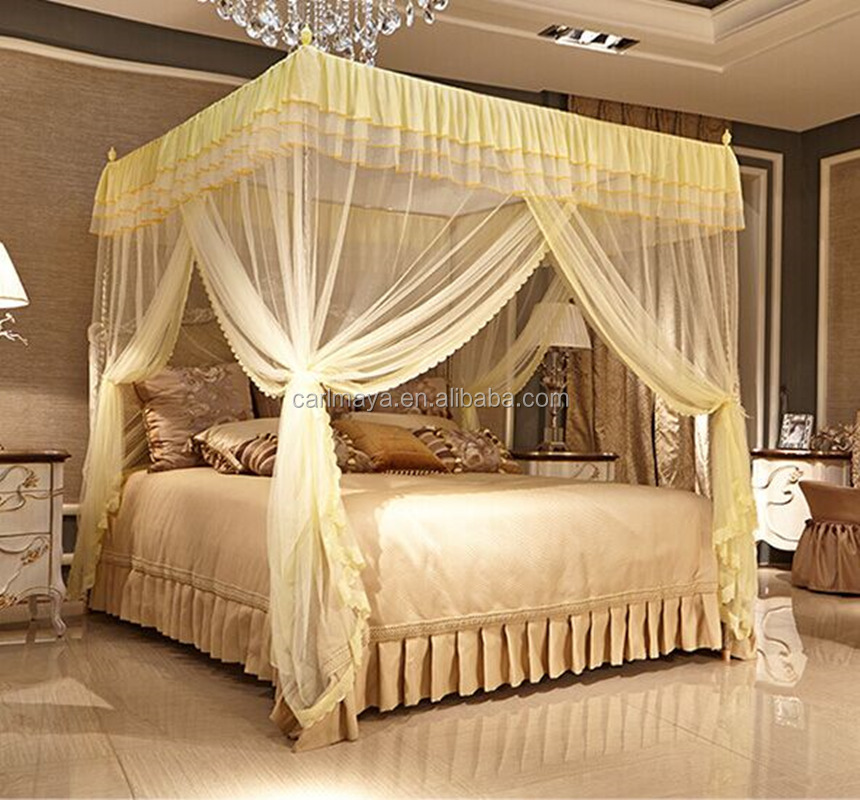 Luxury three door palace mosquito net bed canopy for queen/king size bed rectangular