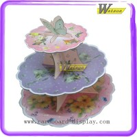 Stock decorative colorful cartoon butterfly cardboard 3-Tier cupcake stands