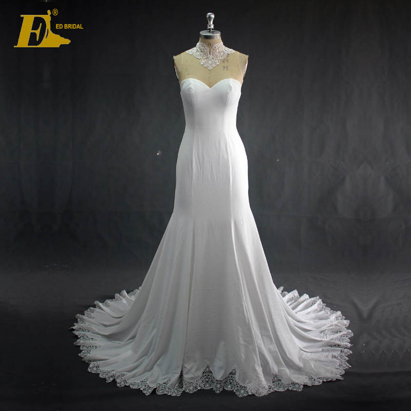 Real Sample Ivory Lace Appliqued Jersey Fabric Mermaid Wedding Dress On Sale