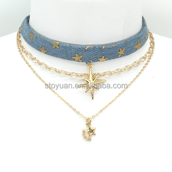Stoyuan High Quality New 3Piece/Set Blue Denim Star Plated Gold Chain Choker Necklace