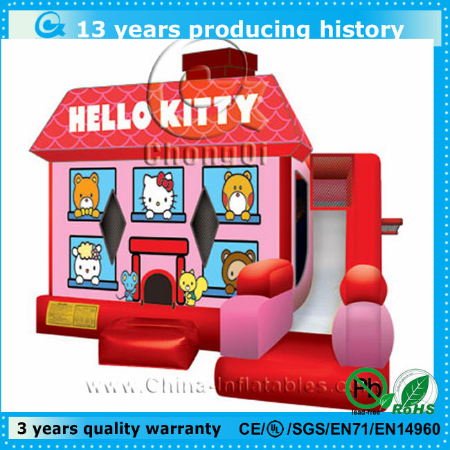 hello kitty small inflatable bouncy castle slide
