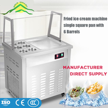 Commercial Food Carts Fully Automatic Silver Stainless Steel Thailand Manual Fried Ice Cream Roll Machine with flat table