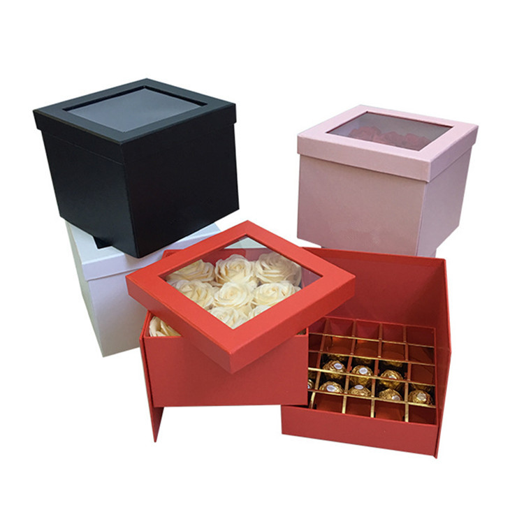 Custom LOGO double layers flower box for rose flowers and chocolate packaging