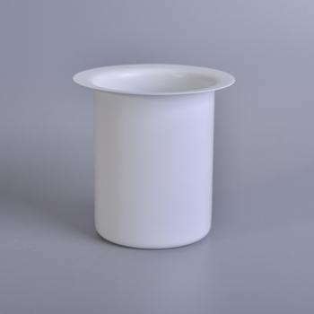 Wholesale matte white cylinder candle jars with lip