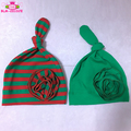 2017 Christmas Gift Knitted Cotton Red Green Stripes / Green Knotted Hat Unisex Baby Flower Beanie Hat