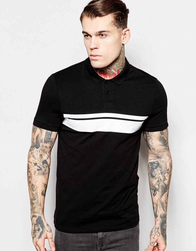 Summer black and white stitching two color t shirt color for Polo shirt color combination