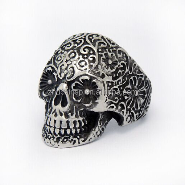 China factory wholesale fashion head stainless steel skull ring