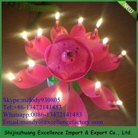Hot sale lotus birthday music candle /Mob +86-13472141483
