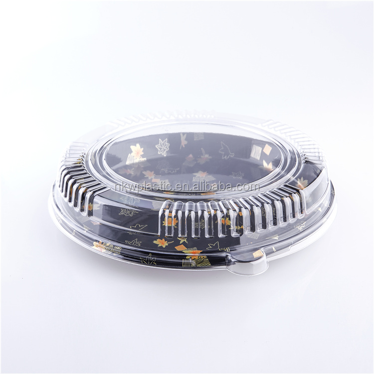 Round Disposable Plastic Container Sushi Party Tray Food Container for take out
