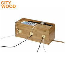 Bamboo Cable Box Management Organizer, Hides Power Strips box