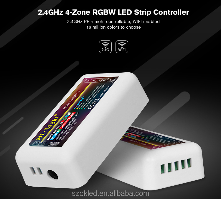 2.4GHz 4-Zone RGBW LED Strip Controller Mi light 2.4G Wireless Wifi APP iOS Android RF touch Remote Controller
