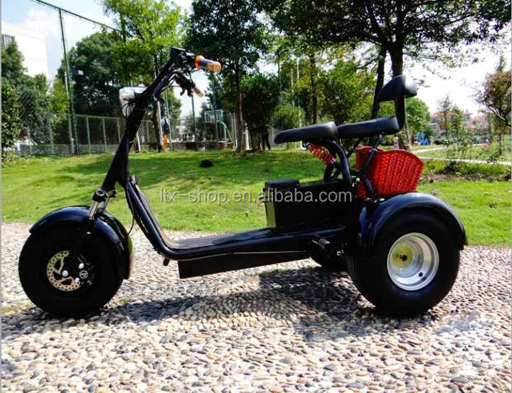 3 Wheel Electric Harley Scooter, 48V/60V 500W/1000W Powerful Electric Mobility Scooter,Fat Tire Electric Tricycle With Baby Seat