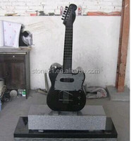 Cheap Natural Stone Absolute Black Granite Guitar Headstones/Monuments