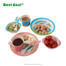 Hot selling bamboo fiber kids dining dinner plate set 5-pieces for baby