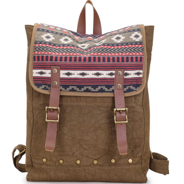 Acid washed custom printed canvas outdoor backpack with leather trim