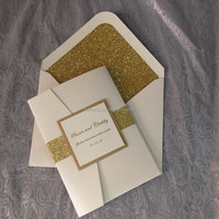 ivory Pearl Paper With Glitter Belt Pocket Fold Wedding Invitations 3 Layer Inserts With Tags and Envelopes