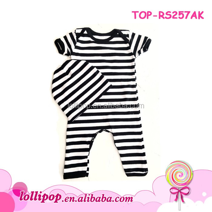 New design infant creeper bodysuit cotton short sleeve long leg one piece boys clothing baby black stripe rompers with beanies