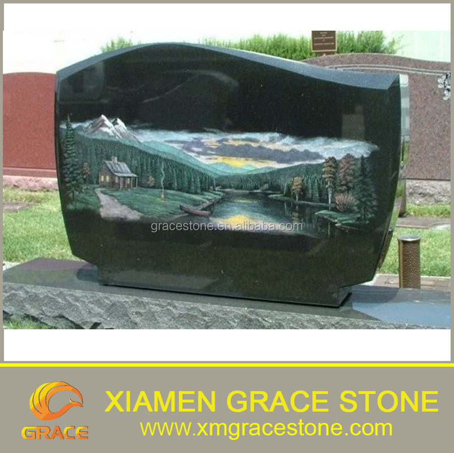Black Granite upright American Tombstone with etching