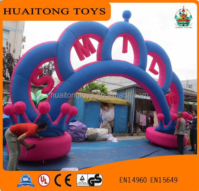 2016 high quality low price PVC Crown inflatable wedding arch advertising inflatable arch for sale