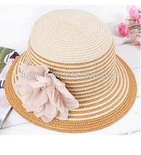 Women Striped Flower Sun Shade Bucket Straw Hat