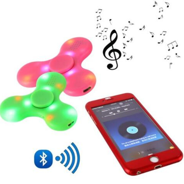LED mini bluetooth speaker music fidget spinner EDC hand for autism tri toy led