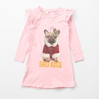 Ruffle long sleeve skirt printed dog dresses for autumn girls cotton fancy dress competition for kids