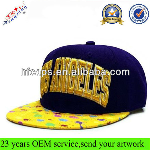 2014 Snapback Hat Design Your Own Embroidery Two Tone Plain Flat bill Custom Fitness Snapback Hat