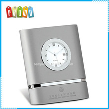 Big Panel Style metal Desk Clock With Polished Metal Inlay