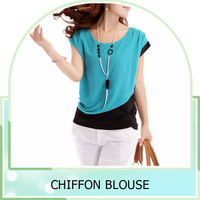 2016 New Summer Women Lady Chiffon O Neck Black And Blue 2Block Color Loose Blouse Casual Short Tops