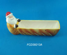 FCD39213A Holiday Santa ceramic cookie holder with bread finish