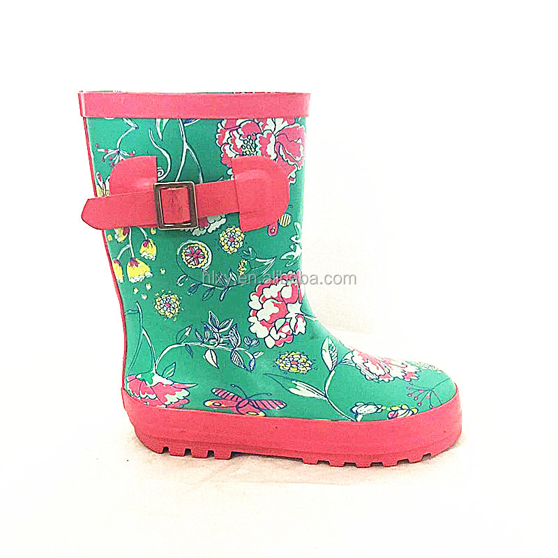 2016 hot sale nice and colourful printed flower rubber girls rainboots with buckles