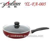 Aluminum non-stick stone marbled coating frying pan fry pan skillet with glass covered