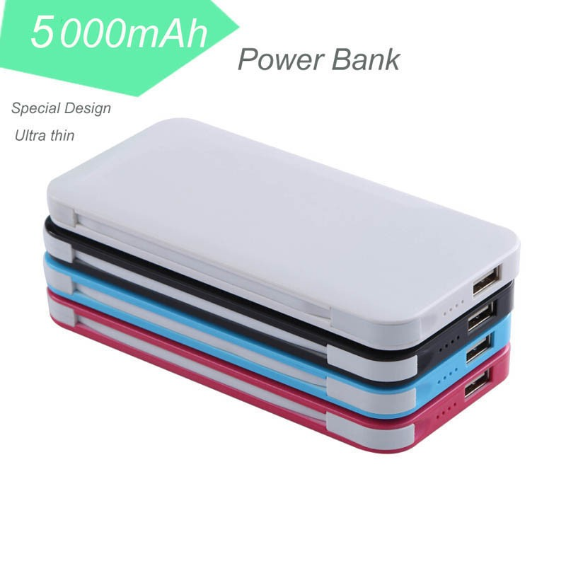 Wholesale 5000mah Rohs Mobile Power Bank with Built-in Micro USB Cable