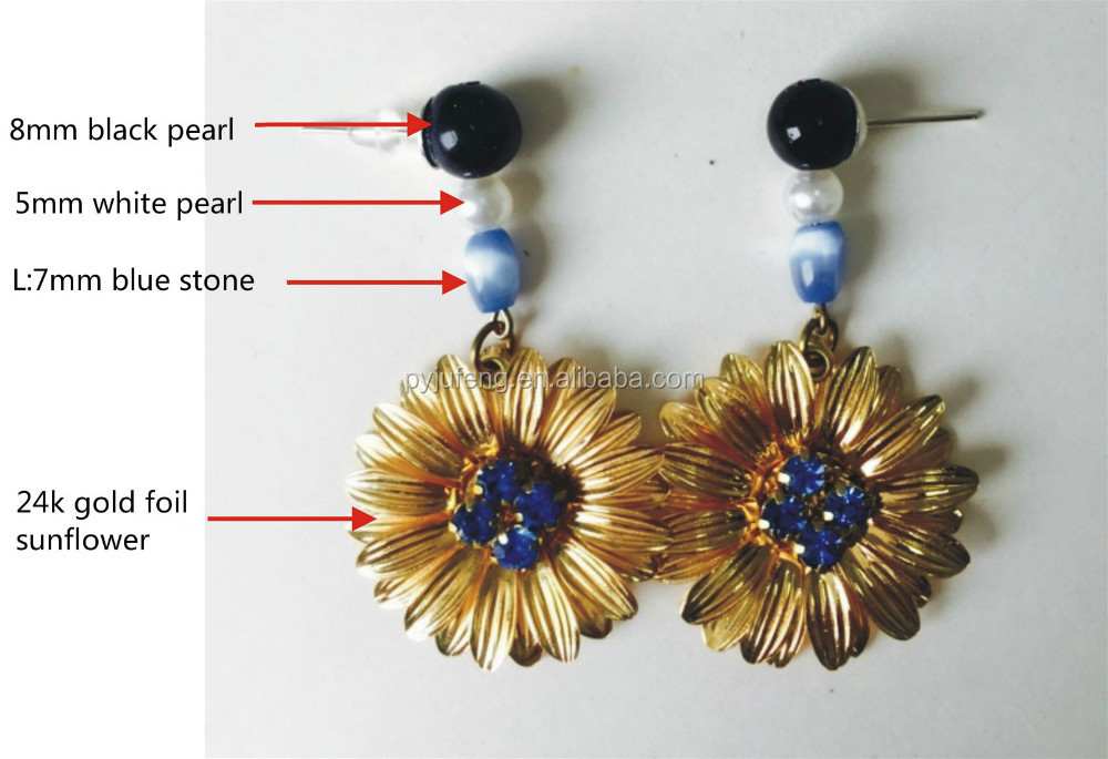 24k gold foil sun flower earring with diamond and peal DIY fashion design