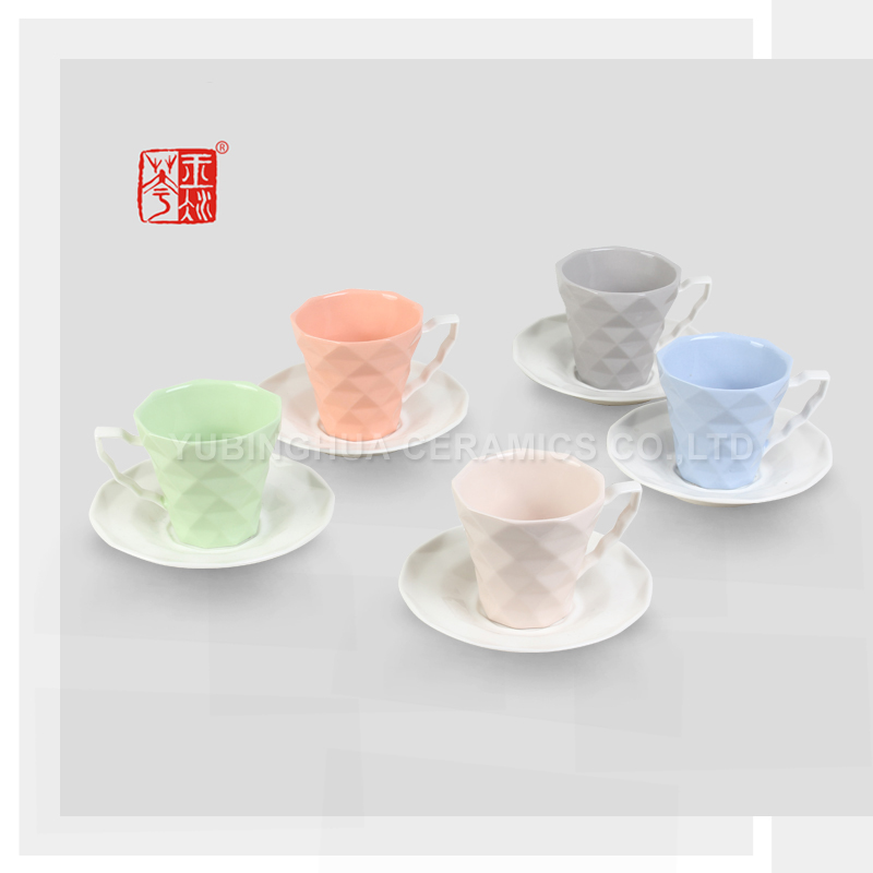 Set of 6 European Style Ceramic Cup and Saucer Coffee Cup Set