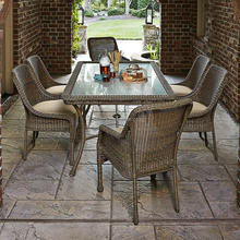 Antique UK style 6 seater furniture garden ridge chair and outdoor rattan dining table glass