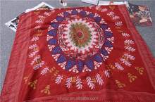 big sunflower geometrial pattern printing scarf red cotton shawl